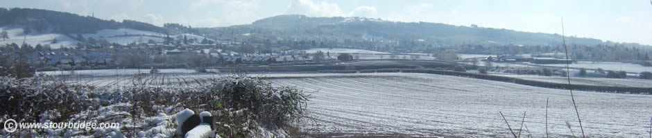 Wychbury Hill with Clent Hills in the distance