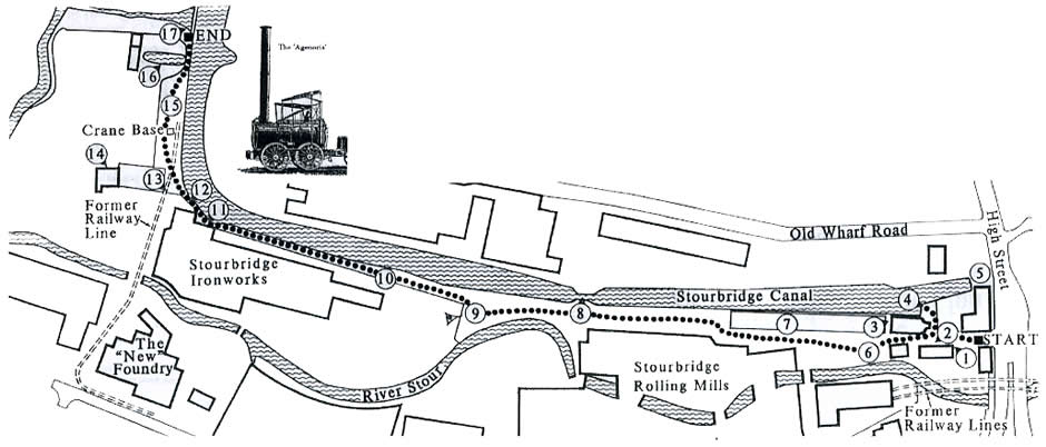 Map of the Stourbridge canal arm area